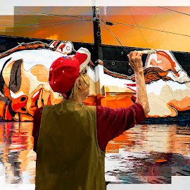 The Finishing Touch by Sandy Friedkin - Digital Art Abstract ( reflecrion, artist, wall mural, painting )