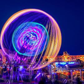 Sloe fair 2015 by Bela Paszti - City,  Street & Park  Amusement Parks ( uk, england, chichester, amusement, long expo, night, sloe, nikon, fair )
