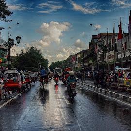 Malioboro Street Scenes by Dedi Sukardi - City,  Street & Park  Street Scenes ( after rains, jogyakarta, indonesia, street, malioboro, city )
