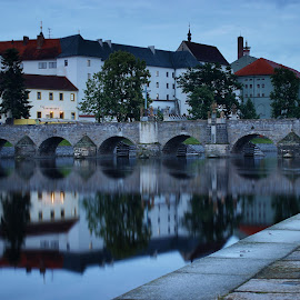 Old stone bridge in Písek by Michal Snopek - Buildings & Architecture Bridges & Suspended Structures ( písek, reflection, hdr, long exposure, bridge, city, river )