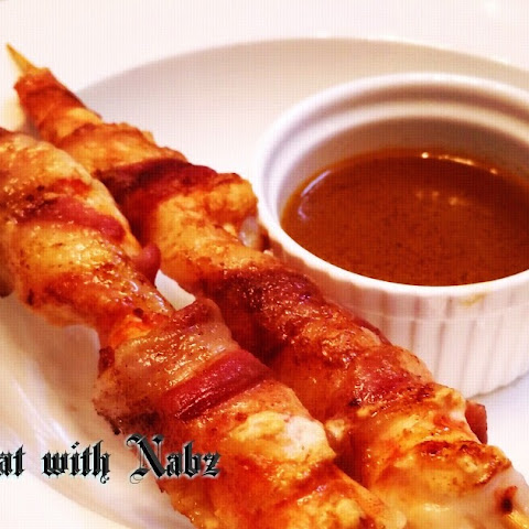Bacon Wrapped Prawn With Prawn Head Reduction Sauce