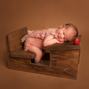 Schoolgirl Dreams by Nicole Ferris - Babies & Children Babies ( girl, apple, baby girl, desk, sleeping, baby, newborn,  )