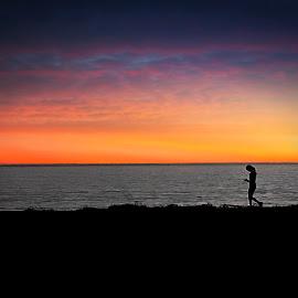 Running On The Oceanfront by T Sco - Sports & Fitness Fitness ( water, walking, fitness, sunset, ocean, runner, working, landscape, run, walk, running, workout )