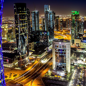 Doha City Center by Edison Briones - City,  Street & Park  Skylines