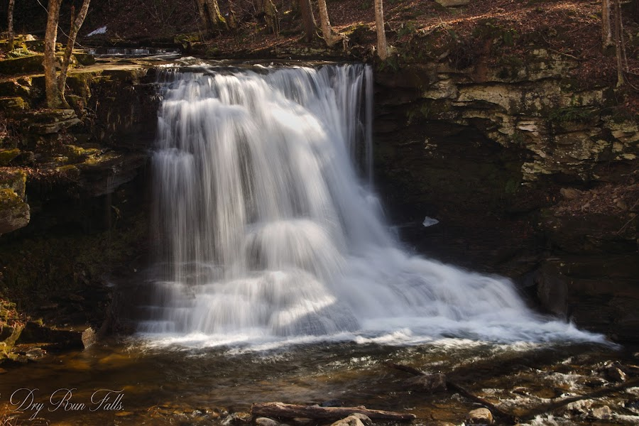 Dry Run Falls 2-26-2018. by William Hamm - Typography Captioned Photos