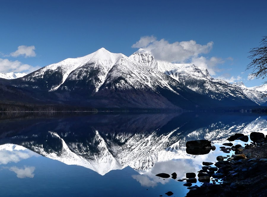 Lake McDonald mirror by Barry Houser - Landscapes Mountains & Hills ( reflection, mountains, nature, blue, snow, lakes, landscapes, glacier national park )