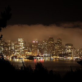 Embarcadero by Night by Talbot Brooks - City,  Street & Park  Skylines ( lights, fog, embarcadero, night, san francisco, city at night, street at night, park at night, nightlife, night life, nighttime in the city )