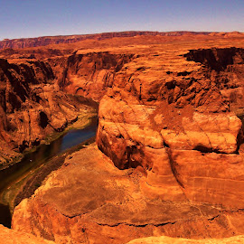 Horseshoe Bend on the Colorado River by Jim Johnston - Landscapes Caves & Formations