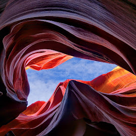 Looking upward by Mike Lennett - Landscapes Caves & Formations ( canon, desert, canyon, sandstone, rock, blue sky, page, antelope, arizona, formations, southwest, artistic, swirls )