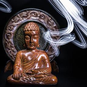 Buddha Light Painting by Sabrina Campagna - Artistic Objects Still Life ( ethnic, light painting, led, night photography, still life, long exposure, night, painting, light, buddha )