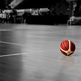 Waiting by Alessandra Antonini - Sports & Fitness Basketball ( basketball, ball, black and white, basket, sports, sport )