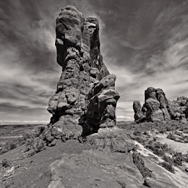 Arches National Park by Dipali S - Black & White Landscapes ( moab, orange, unique, desert, park, america, national, states, sandstone, rock, scenic, preserve, red, arches national park, nature, utah, formations, outdoor, arches, southwest, service, monument, natural, geological )