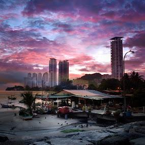 Colourful New Day by Adrian Choo - City,  Street & Park  Vistas ( lights, building, beacg, seascape, landscape, colours )