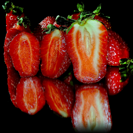 strawberry on the mirror by LADOCKi Elvira - Food & Drink Fruits & Vegetables ( fruits )