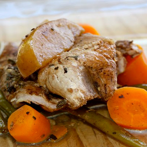 Balsamic Glazed Pork with Apples, Carrots, and Green Beans