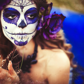 Halloween Bride  by Ina Pandora - People Portraits of Women ( girl, purple, blue, female, makeup, fine art, portrait, halloween )