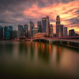 by Gordon Koh - City,  Street & Park  Skylines ( shenton way, reflection, skyline, skyscraper, sunset, vista, asia, long exposure, jubilee bridge, waterfront, singapore )