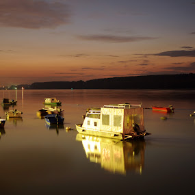 Danube Nights by Jelena Seničić Vilimanović - Landscapes Waterscapes ( water, sky, belgrade, sunset, night, boat, light, danube, river )