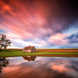 High Skies by Ken Smith - Landscapes Cloud Formations ( barn, sunset, nebraska )