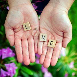 Love by David Frome - Wedding Details ( love, wedding ring, scrabble, hands, flowers )