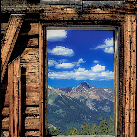 Picture Window by Curtis Forrester - Buildings & Architecture Architectural Detail ( vertical, alta, colorado, ghost town, summer, mountain(s), landscape, old building(s), structures, united states of america )