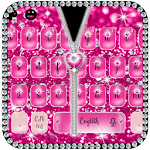 Pink Zipper Glitter Diamond Keyboard Theme Icon