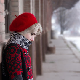 by Sara Agic - People Portraits of Women ( fashion, red, winter, girl, vintage, snow )