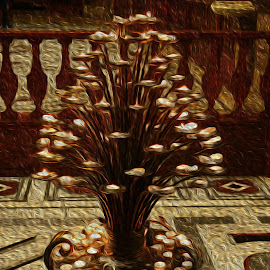 Florence Candelabra by Jody Bédard - Painting All Painting ( lights, candle, tuscany, florence, church, candlelight, churches, candles, romantic, tuscan, oil painting, italy, oil )