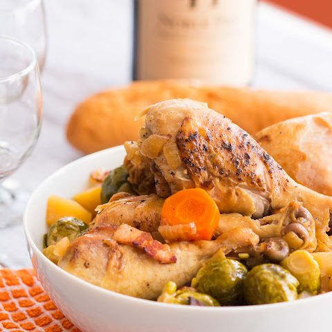 Slow Cooker Brussels Sprouts with Bacon and Chicken