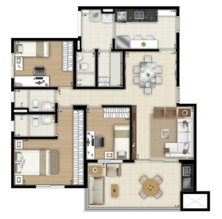 Planta Final 1 e 2  - 100 m²