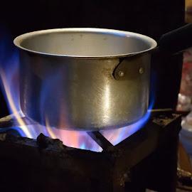 Color of Fire by Samrat Sarkar - Food & Drink Alcohol & Drinks ( blue, color, tea stall, fire, flame )