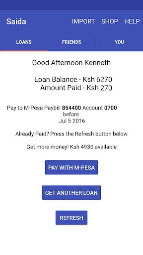 Saida - Loans to your M-Pesa screenshot 2