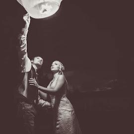 by Martha Needham - Wedding Bride & Groom ( black and white, wedding )