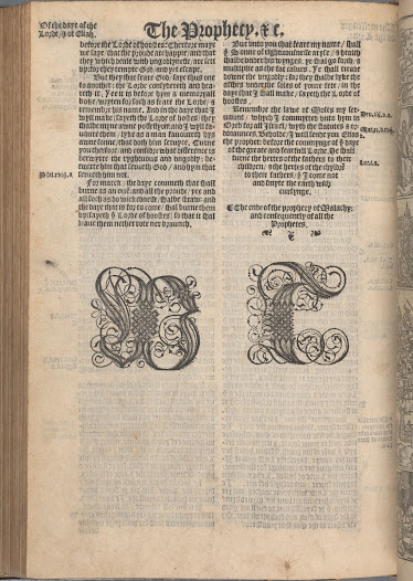 A year after his death, Tyndale's contribution to the Matthew Bible, the first officially sanctioned English Bible (1537), is acknowledged with the elaborate initials 'WT' at the end of the Old Testament.