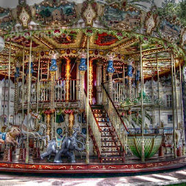 by Anna Carneal - Digital Art Things ( merry go round, nice france, ride, carousel horse, colorful, elephant, carousel, france, vibrant )