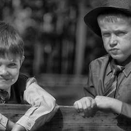 Waiting for the Rings  by Janice Mcgregor - Wedding Groups ( canon, ring, wedding photography, b&w, faces, canon sl1, smiles, bokeh, hat, fence, wedding, boys, canon photography, freckles )