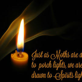 Spiritual photo with words by Darcie Wright - Typography Captioned Photos ( candle candlelight smoke quote words gold )