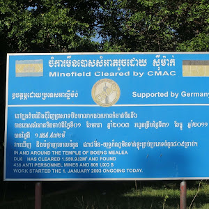 Minefield Cleared by CMAC Supported by Germany IN AND AROUND THE TEMPLE OF BOENG MEALEADU6 HAS CLEARED 1.559.932M^2 AND FOUND438 ANTI PERSONNEL MINES AND 809 UXO SWORK STARTED THE 1. JANUARY 2003 ...