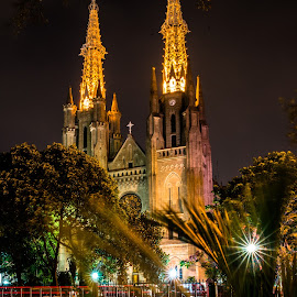 Catholic Cathedral in Jakarta at night by Pierre Tessier - Buildings & Architecture Places of Worship ( jakarta,  )