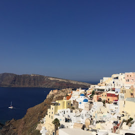 Santorini by Anissa Meghji - Landscapes Travel ( water, hill, houses, pretty, island )