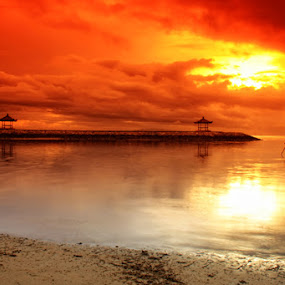 Red Sky at the Morning by I Gusti Putu Purnama Jaya - Landscapes Weather