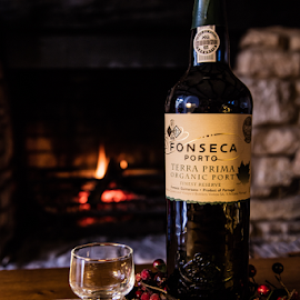 Warming by the fire by Elise Northfield - Food & Drink Alcohol & Drinks ( wine, festive, warm, wood, alcohol, grape, drink, glass, bottle, evening, biscuit, fire,  )