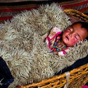 Nomad Baby by Garrett Dyer - Babies & Children Babies ( tibetan, sleeping, tibet, baby, bassinet, nomad )