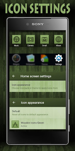 Wooden Icons Green XZ Theme - screenshot