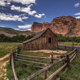 Desert Barn by Bill Higginson - Buildings & Architecture Other Exteriors ( farm, fence, desert, barn, architecture,  )