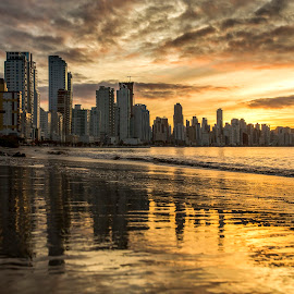Sunset in Camboriu Beach by Rqserra Henrique - City,  Street & Park  Skylines ( clouds, brazil, sunset, rqserra, buildings, colorfull, beach, landscape, reflexes )