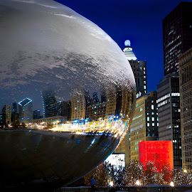 Frosted Bean by Erik Lykins - City,  Street & Park  Night ( chicago skyline, illinois, winter, bean, night, chicago, cloud gate )