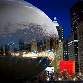 Frosted Bean by Erik Lykins - City,  Street & Park  Night ( chicago skyline, illinois, winter, bean, night, chicago, cloud gate )