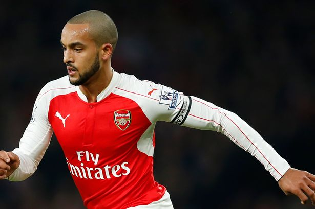Theo Walcott celebrates a decade at Arsenal by captaining the team