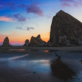 Cannon Beach Seastacks by Carrie Cole - Landscapes Sunsets & Sunrises ( water, oregon, sony nex 7, 2013, cannon beach, sea stacks, sea, tourism, ocean, scenic, beach, landscape, coastline, attraction, carrie cole, sky, haystack rock, sunset, oregon coast, august, cole summer road trip )